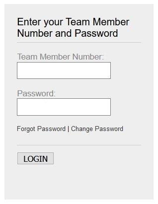 TM Menards login form Team Members